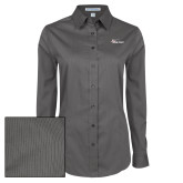Ladies Grey Tonal Pattern Long Sleeve Shirt-Wipline Floats