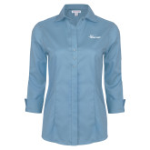 Ladies Red House Light Blue 3/4 Sleeve Shirt-Wipline Floats