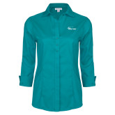 Ladies Red House Teal 3/4 Sleeve Shirt-Wipline Floats