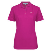 Ladies Easycare Tropical Pink Pique Polo-Wipline Floats