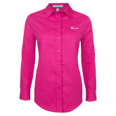 Ladies Tropical Pink Long Sleeve Twill Shirt-Wipline Floats