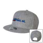 Heather Grey Wool Blend Flat Bill Snapback Hat-Wipaire Inc