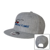 Heather Grey Wool Blend Flat Bill Snapback Hat-Wipline Floats
