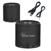Wireless HD Bluetooth Black Round Speaker-Wipline Floats Engraved