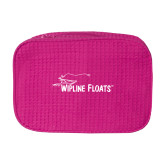 Large Hot Pink Waffle Cosmetic Bag-Wipline Floats
