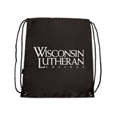 Black Drawstring Backpack-Wisconsin Lutheran College Stacked