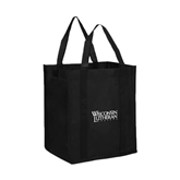 Non Woven Black Grocery Tote-Wisconsin Lutheran College Stacked