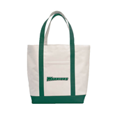 Contender White/Dark Green Canvas Tote-Warriors
