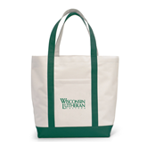 Contender White/Dark Green Canvas Tote-Wisconsin Lutheran College Stacked