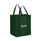 Non Woven Dark Green Grocery Tote-Wisconsin Lutheran College Stacked