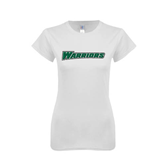 Next Level Ladies SoftStyle Junior Fitted White Tee-Warriors