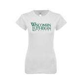 Next Level Ladies SoftStyle Junior Fitted White Tee-Wisconsin Lutheran College Stacked