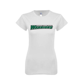 Next Level Ladies SoftStyle Junior Fitted White Tee-Wisconsin Lutheran College Warriors