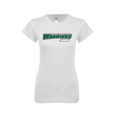 Next Level Ladies SoftStyle Junior Fitted White Tee-Mom - Wisconsin Lutheran College Warriors