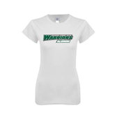 Next Level Ladies SoftStyle Junior Fitted White Tee-Alumni - Wisconsin Lutheran College Warriors