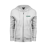 ENZA Ladies White Fleece Full Zip Hoodie-Warriors