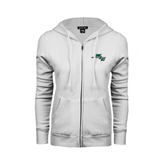 ENZA Ladies White Fleece Full Zip Hoodie-WLC Diagonal w/ Sword