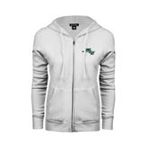 ENZA Ladies White Fleece Full Zip Hoodie-WLC Diagonal w/ Sword