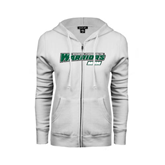 ENZA Ladies White Fleece Full Zip Hoodie-Mom - Wisconsin Lutheran College Warriors