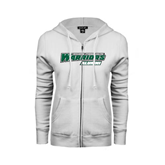 ENZA Ladies White Fleece Full Zip Hoodie-Alumni - Wisconsin Lutheran College Warriors