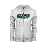 ENZA Ladies White Fleece Full Zip Hoodie-Alumni - WLC