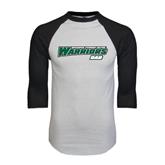White/Black Raglan Baseball T-Shirt-Dad - Wisconsin Lutheran College Warriors
