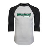 White/Black Raglan Baseball T-Shirt-Alumni - Wisconsin Lutheran College Warriors