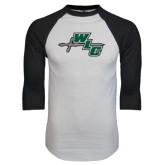 White/Black Raglan Baseball T-Shirt-WLC Diagonal w/ Sword
