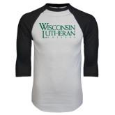 White/Black Raglan Baseball T-Shirt-Wisconsin Lutheran College Stacked