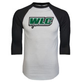 White/Black Raglan Baseball T-Shirt-WLC w/ Sword