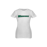 Youth Girls White Fashion Fit T Shirt-Warriors