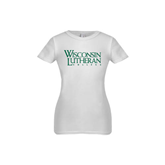 Youth Girls White Fashion Fit T Shirt-Wisconsin Lutheran College Stacked