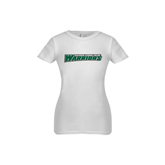 Youth Girls White Fashion Fit T Shirt-Wisconsin Lutheran College Warriors