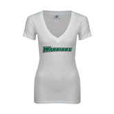 Next Level Ladies Junior Fit Deep V White Tee-Warriors