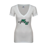Next Level Ladies Junior Fit Deep V White Tee-WLC Diagonal w/ Sword