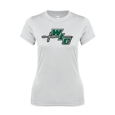Ladies Syntrel Performance White Tee-WLC Diagonal w/ Sword