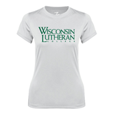 Ladies Syntrel Performance White Tee-Wisconsin Lutheran College Stacked