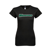 Next Level Ladies SoftStyle Junior Fitted Black Tee-Warriors