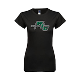 Next Level Ladies SoftStyle Junior Fitted Black Tee-WLC Diagonal w/ Sword
