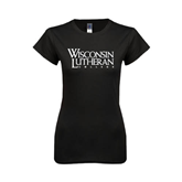 Next Level Ladies SoftStyle Junior Fitted Black Tee-Wisconsin Lutheran College Stacked