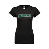 Next Level Ladies SoftStyle Junior Fitted Black Tee-Wisconsin Lutheran College Warriors