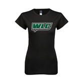Next Level Ladies SoftStyle Junior Fitted Black Tee-WLC w/ Sword