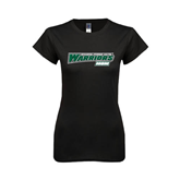 Next Level Ladies SoftStyle Junior Fitted Black Tee-Mom - Wisconsin Lutheran College Warriors
