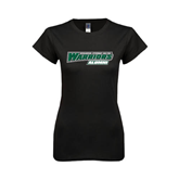 Next Level Ladies SoftStyle Junior Fitted Black Tee-Alumni - Wisconsin Lutheran College Warriors