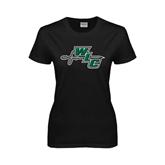 Ladies Black T Shirt-WLC Diagonal w/ Sword