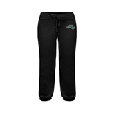 ENZA Ladies Black Banded Fleece Capri-WLC Diagonal w/ Sword