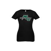 Youth Girls Black Fashion Fit T Shirt-WLC Diagonal w/ Sword