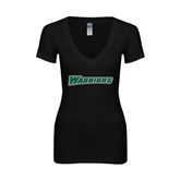 Next Level Ladies Junior Fit Deep V Black Tee-Warriors