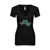 Next Level Ladies Junior Fit Deep V Black Tee-WLC Diagonal w/ Sword