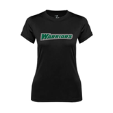 Ladies Syntrel Performance Black Tee-Warriors